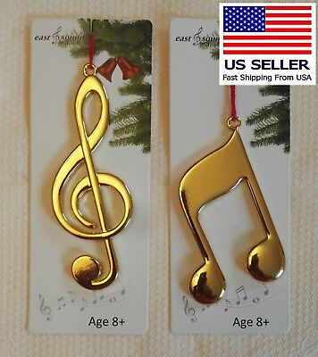 Music Note group of 2, Solid Metal Gold (Music Note Ornamente)