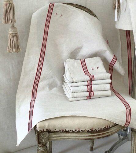 ONE Antique Vintage  French Linen Torchon Tea Kitchen Towel  Mono GP Red Stripe