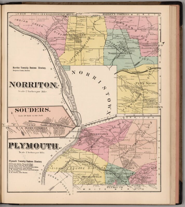 1871 MONTGOMERY COUNTY PENNSYLVANIA state old map GENEALOGY LAND OWNER DVD P18