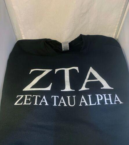 Zeta Tau Alpha ZTA Sorority Crewneck Sweatshirt- Black-Size Large-New!