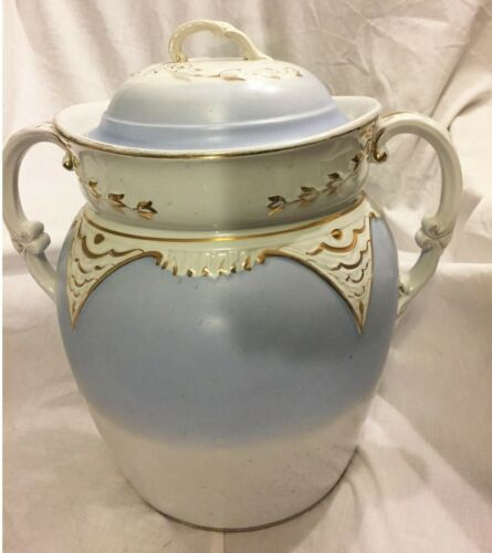 LARGE ANTIQUE YALE CHAMBER POT COMMODE W/LID   BLUE/WHITE/GOLD