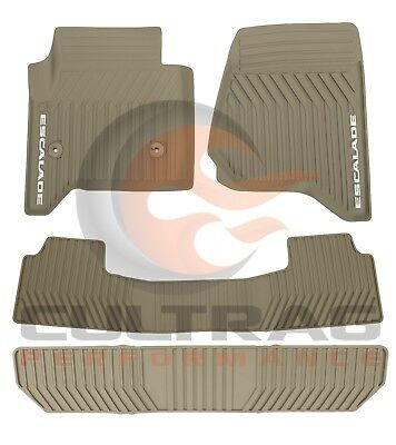 2015-2020 Cadillac Escalade GM Front & 2nd & 3rd Row All Weather Floor Mats Dune