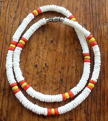 White Puka Shell Beach Surfer Necklace 18 inch Orange & Yellow Accent Beads Orange Shell Necklace