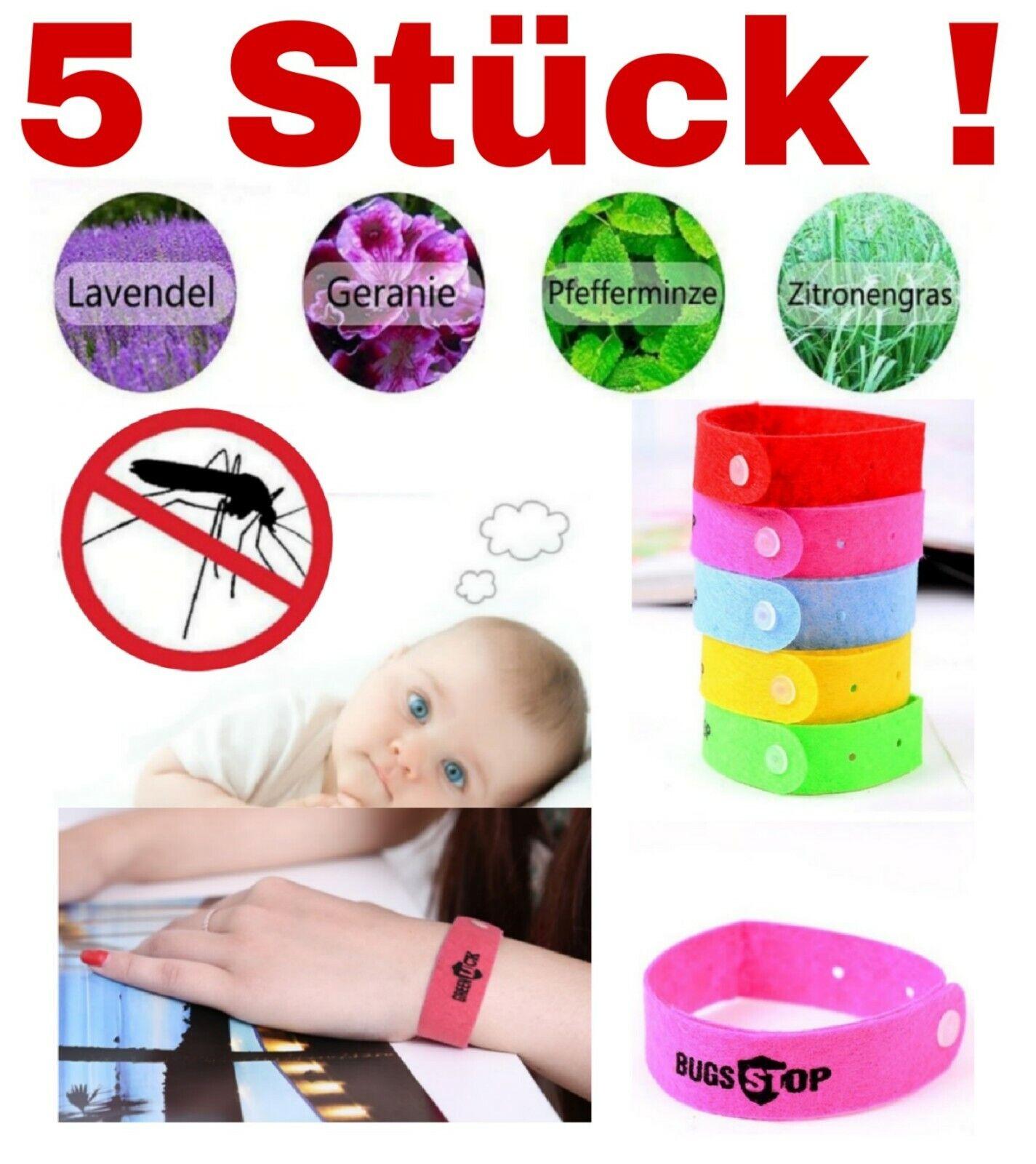 5 Stück Mückenarmband Anti-Mücken Mückenschutz Armband Moskito Insektenschutz