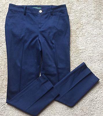 RALPH LAUREN Women's Blue Cotton Blend Straight Leg Dress Pants Size 2P