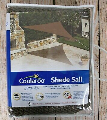 Coolaroo Triangle Shade Sail Canopy Mocha 13' x13 'x13' Ready To Hang Blocks UV