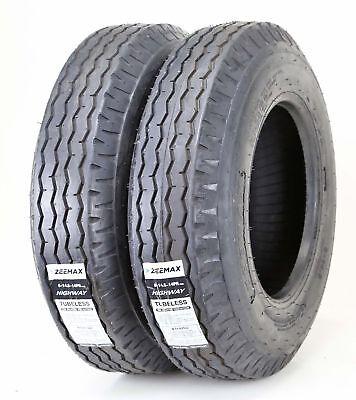 2 New Zeemax Heavy Duty Highway Trailer Tires 8-14.5 14PR LR G