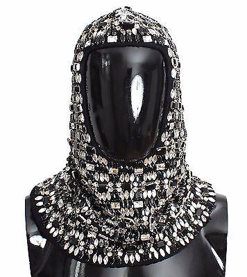 NWT $3600 DOLCE & GABBANA Black Wool Crystal Runway Crochet Hood Scarf Hat