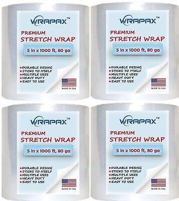 5 X 1000 3 Inch Core 80 Ga 20 Micron Plastic Stretch Wrap 4 Pack
