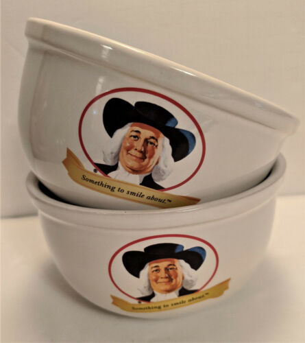 Quaker Oats 2005 Cereal Oatmeal Bowls Set of 2 Something to Smile About