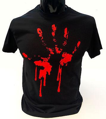 Bloody Hand Print T-Shirt Mens S-2XL Goth Rock Blood Zombie Punk Halloween - Bloody Hand Print
