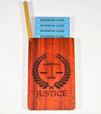 Business Card Holder Wooden Handmade Lazercut Scales Of Justice Padauk Birch