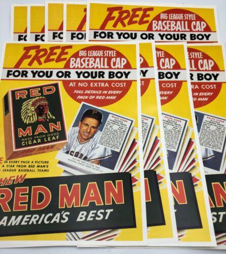 "(9) Red Man Baseball Card Tobacco Cigarette Posters Display 1952 Reprint 15""x11"""