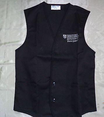 Food Service Aprons - Unisex Vest Food Service Black Uniform Apron EMB Massachusetts Sz S to 2X