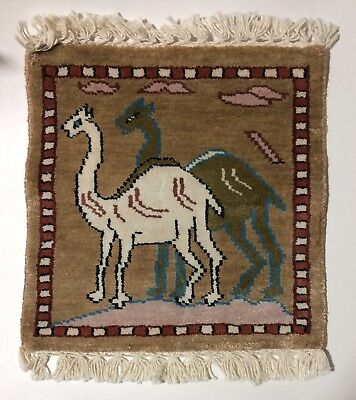 "11 1/2"" x 12"" Two Camels Brown Middle East Thick Miniature Area Rug"