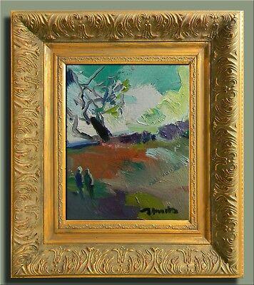 JOSE TRUJILLO FRAMED Modern Oil Painting SIGNED Impressionist FIGURES LANDSCAPE