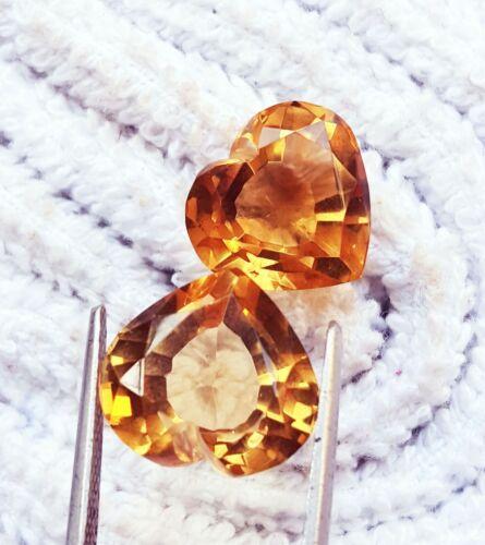 Loose Gemstone Brazilian Natural Citrine Certified Between 12 to 14 Ct Pair