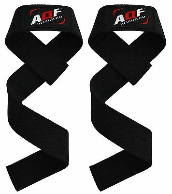 AQF Weight Lifting Training Gym Straps Hand Bar Wrist Support Gloves Wrap New