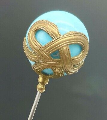 Antique Hatpin Gold Love-knot Ribbons Wrap-around Turquoise Sphere. Chic Example
