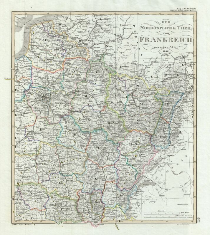 1851 Perthes Map of Northeastern France