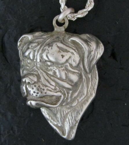 American Bulldog Sterling Silver Pendant with Sterling Silver Chain