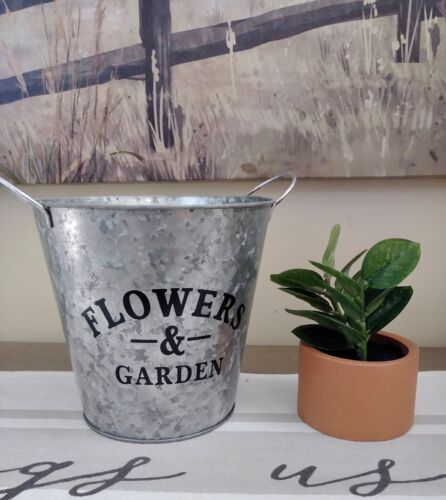 NEW Galvanized Metal Flower Tin Pail Bucket SPRING Summer Garden FARMHOUSE Decor