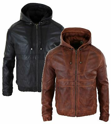Mens Real Leather Hood Bomber Jacket Tan Brown Black Zipped Tailored Fit Casual
