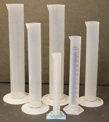 Vitlab Graduated Cylinder Polypropylene 1000 500 250 100 Ml Lot Of 6 5897