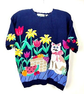 VTG NWT Northern Isles Sweater Womens XL Kitty Cat Person Bowl Of Fruit Floral
