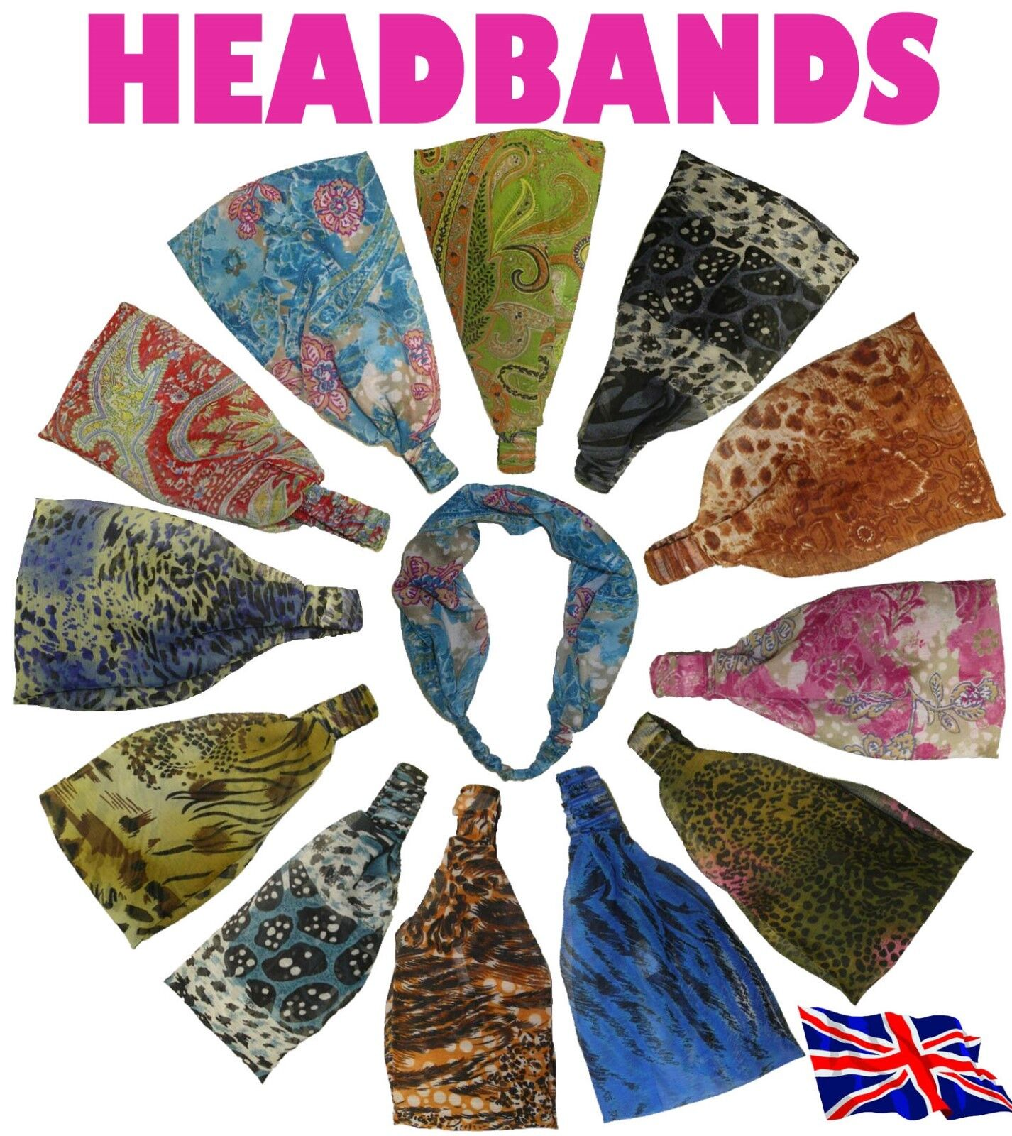 New Headband Wide Bandeau Elasticated Hair Band In Vivid Pri