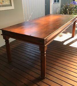 Large long 2.2m hardwood timber dining table