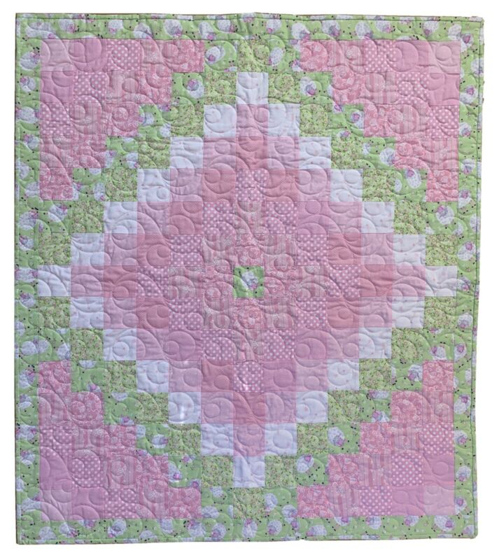 """Handmade Pink and Mint Green Baby Girl's Quilt, 35"""" X 39 1/2"""""""