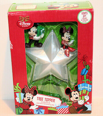 2013 Disney Store Mickey & Minnie Light Up Star Christmas Tree Topper NEW in BOX