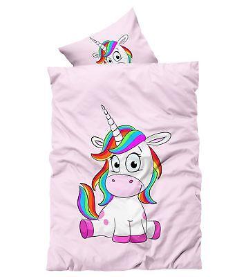 2 tlg Einhorn Bettwäsche 135 x 200 cm  Unicorn pink rosa Microfaser online kaufen