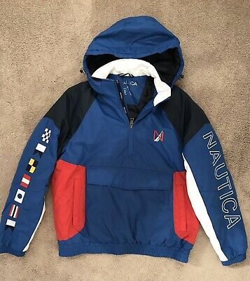 $351 NAUTICA Men's Blue White Red Logo Half-Zip Hoodie Pullover Jacket Coat Sz M