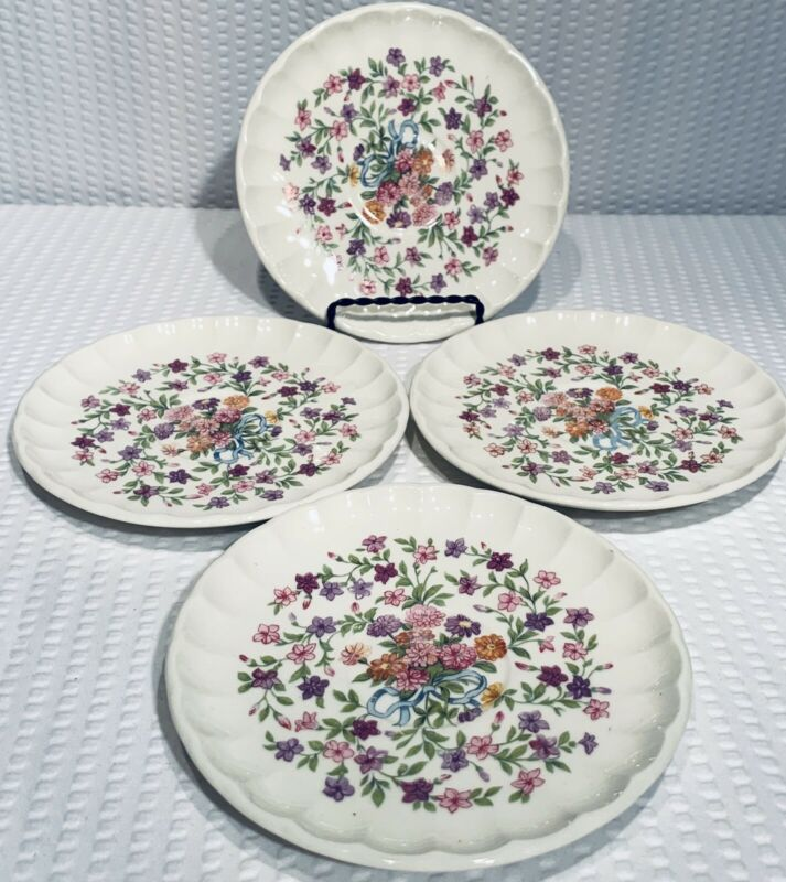 """Lot Of 4 ~ W S George Bolero Fiesta Saucers 5 7/8"""" ~ Excellent Condition"""