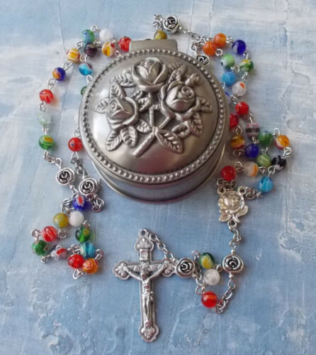 GORGEOUS Rose Metal Rosary BOX with Millefiori beads ROSARY~Portugal~Italy~