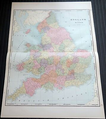 Crams Railway System Atlas Map England Wales Belgium Netherlands Iceland 1895