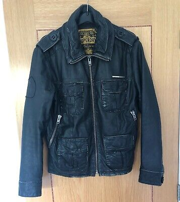 SUPERDRY 'BRAD' BLACK LEATHER BIKER JACKET - SIZE MEDIUM