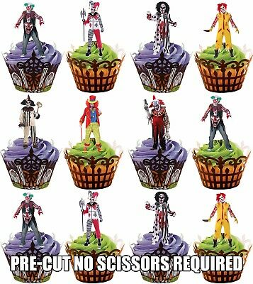 PRE-CUT Halloween Evil Scary Clowns - Edible Cupcake Toppers Party