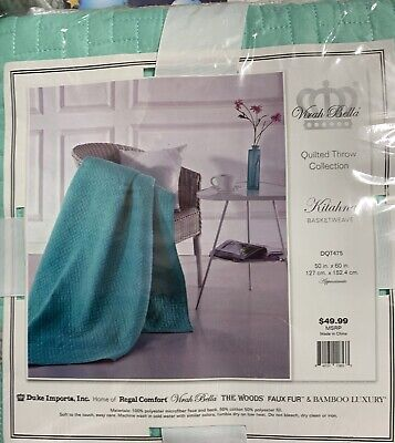 Virah Bella Quilted Reversible Throw Blanket KITAHNA BASKET WEAVE, used for sale  Shipping to Canada