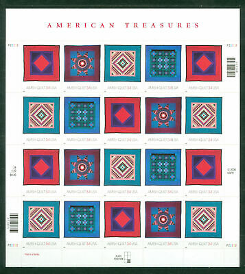 USA**AMISH QUILTS- SHEET 20vals-Sc3524/27- 2001-AMERICAN TREASURES
