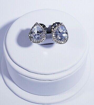 New CZ by Kenneth Jay Lane Basic Silver Teardrop Halo Pear-Shaped Stud Earrings