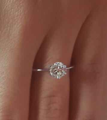 0.75 Ct Classic 6 Prong Round Cut Diamond Engagement Ring I1 E White Gold 14k 14k White Gold Classic Prong