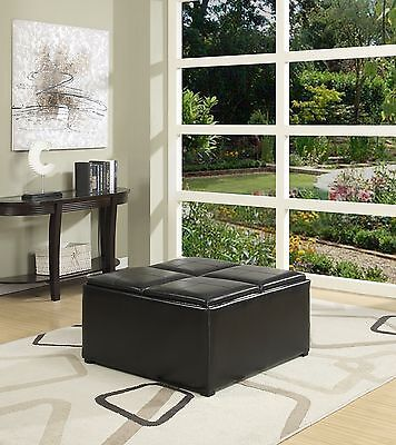 Simpli Home Avalon Coffee Table Storage Ottoman with 4 Serving Trays, Black ()