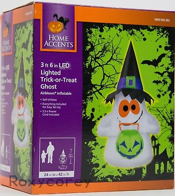 Halloween 3 ft 6 inch LED Lighted Trick or Treat Ghost Airblown Inflatable NIB