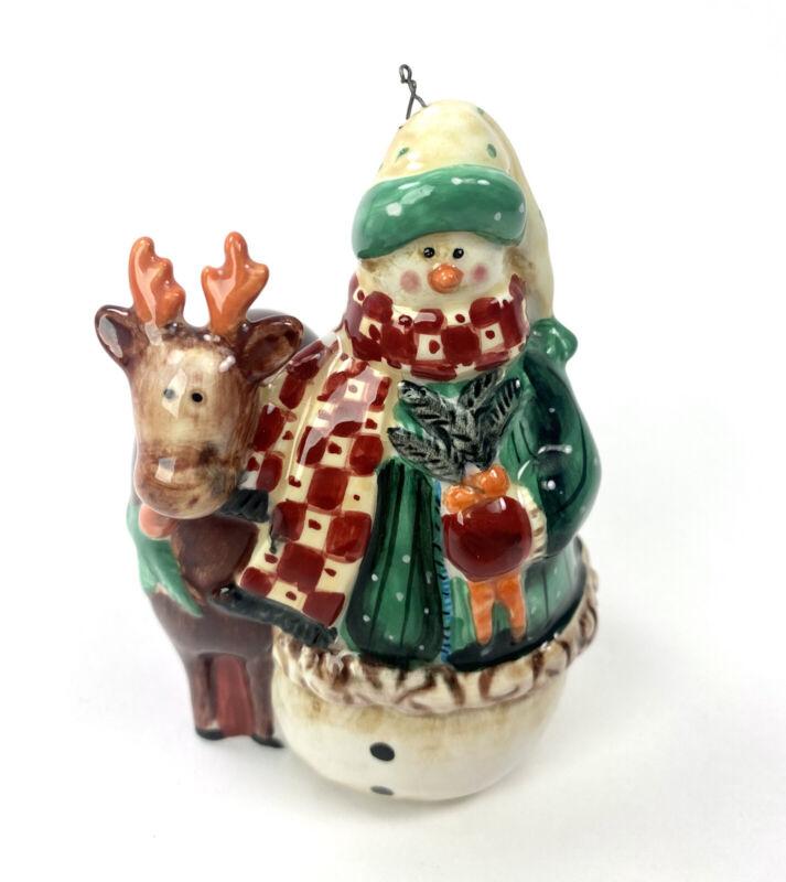 "Snowman With Deer Woodland Christmas Ceramic Animal Ornament 4"""
