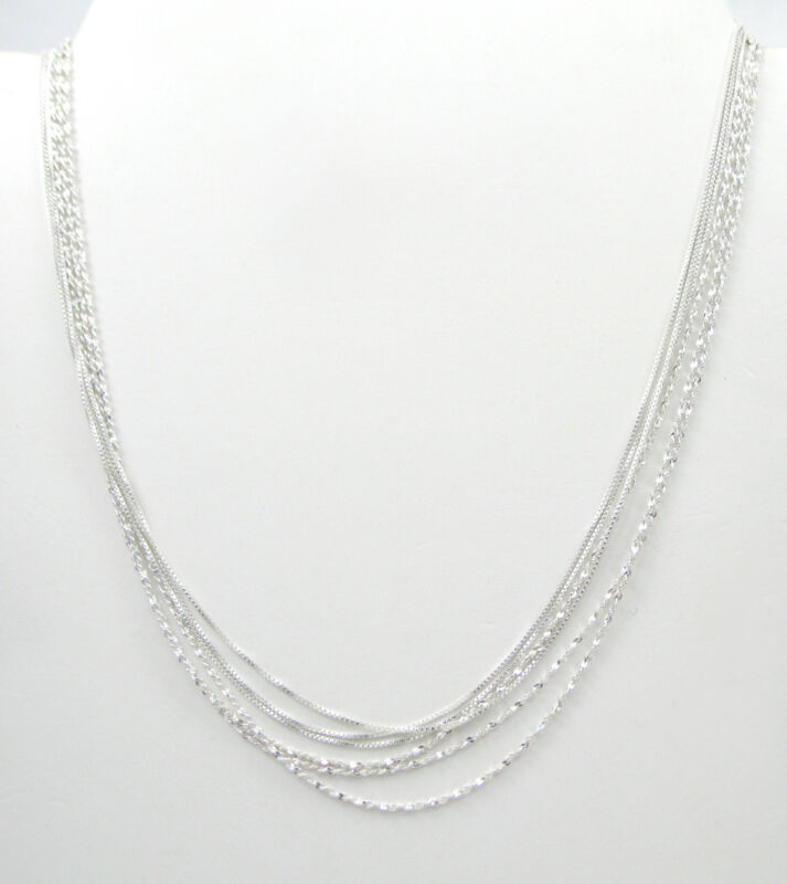 925 SOLID Sterling Silver Mix Lot of 6, Thin Box, Twist Serp 16 long chains F537