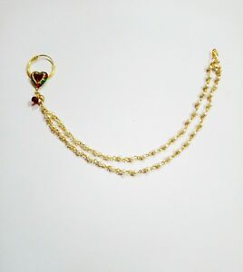 Indian Traditional Nose Ring Gold Tone Nath Pearl Chain Nathni Wedding Jewelry