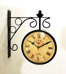 Victoria Station Double Sided Railway Black Powder Coated Clock Functional Clock